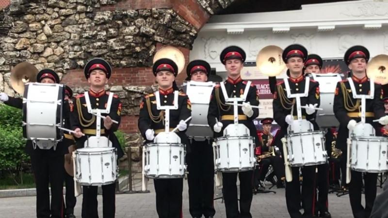 На открытии программы Военные оркестры в парках перед фестивалем Спасская башня