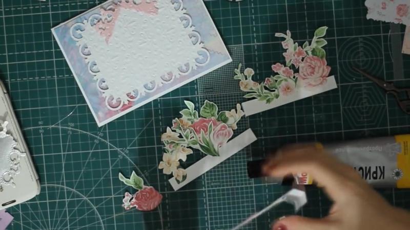 Простая 3 Д открытка с цветами на 8 марта. Скрапбукинг. Tutorial_ Pop-up card 3d