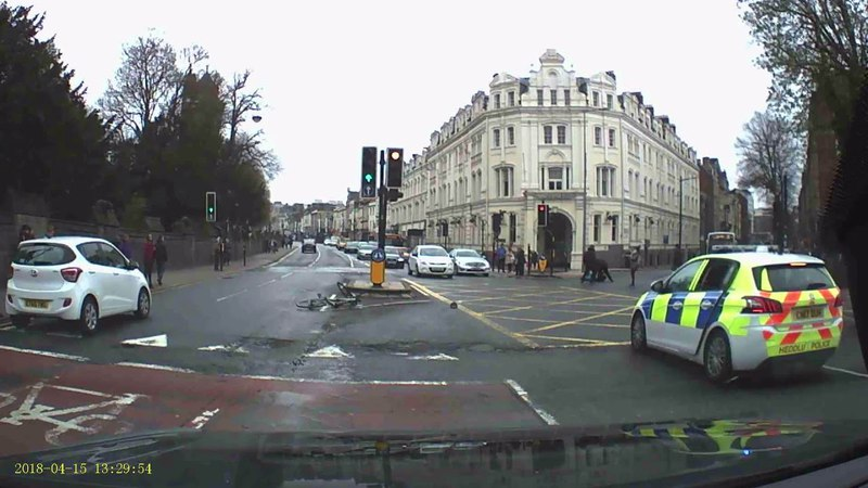 Dashcam Shows Pedestrians Tackle Knife Carrying Cyclist Fleeing Cardiff Police