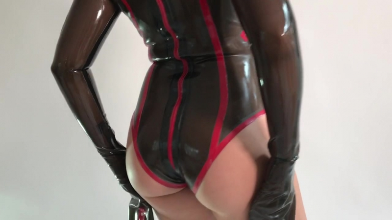 Straight Jacket Latex Leotard by Westward Bound worn by Carrie LaChance in Semi Transparent Black (720p)
