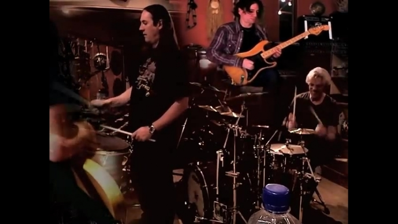 Danny Carey, Larry Lalonde, Matt Stone and Stewart Copeland at the Sacred Grove