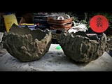 diy make pots of cement and sand by using prints from balloons.