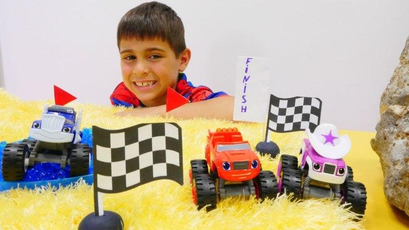 Monster Mashines Blaze ve Crusher. Araba yarışınında kim kazanacak?