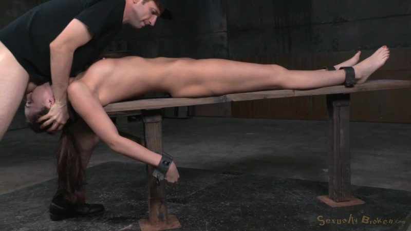 Bondage beauty Bianca Breeze shackled down and throatboarded