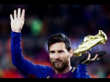 Leo Messi showed off the European Golden Shoe 2016_17 before the game against Deportivo
