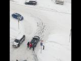 1 снежный день из жизни перекрестка.Мкр.Южный ул.Курыжова.Домодедово