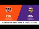 NFL2017 / W15 / Cincinnati Bengals - Minnesota Vikings / CG / EN