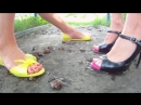 Crush snail two sexy girl outdoor