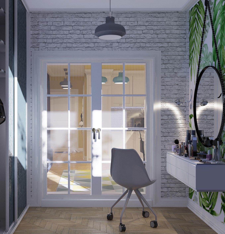 Владелица студии молодая девушка - стилист пожелала организовать пространство компактно и эргономично.