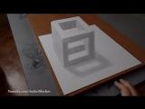 Как нарисовать простой 3д рисунок карандашом - каменный куб.