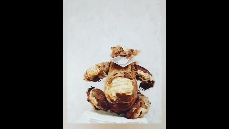 мк Интерьерный медведь из ваты ткани бумаги с подвижной головой лапами с когтями 1 изготовление каркаса москва 2 созда