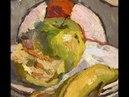 Alla prima oil painting with apples Натюрморт яблока маслом