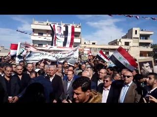 В поселке Аль-Газляния прошел многотысячный митинг в поддержку Сирийской армии