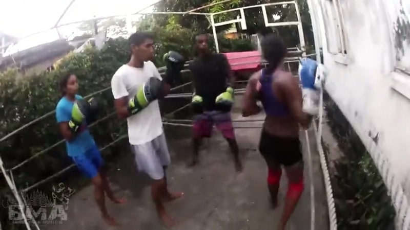 Indian girl belly punch training