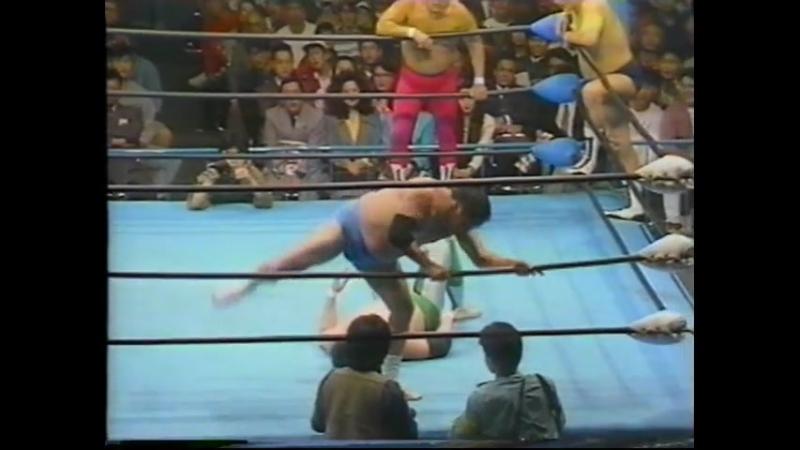 1992 03 27 Giant Baba Mitsuharu Misawa Rusher Kimura vs Haruka Eigen Masanobu Fuchi Motoshi Okuma CLIPPED