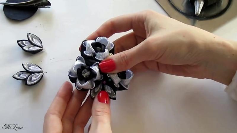Тройной цветок канзаши, МК _ DIY Triple kanzashi flowers _ Kanzashi tutorial