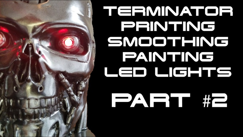 Terminator T-800: installing LED lights, ON/OFF switch, and battery holder (PART 2)