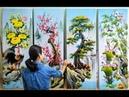 Tranh tứ quý sơn dầu_tùng cúc trúc mai, ĐT mua tranh: 0969.033.288. Đ.tạo các K.học vẽ tại