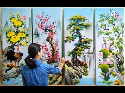 Tranh tứ quý sơn dầu_tùng cúc trúc mai, ĐT mua tranh: 0969.033.288. Đ.tạo các K.học vẽ tại hocve.net