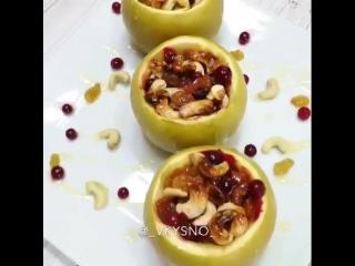 Запечённые яблочки с орехами