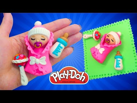Play Doh Newborn Babydoll How to Make Baby for Doll DIY Miniature Babydoll Feeding Bottle Rattle