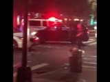 Driver tries to run down cops, jumps sidewalk in dramatic video
