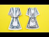 VERY EASY Money DRESS Origami Dollar Tutorial DIY Folded No glue and tape