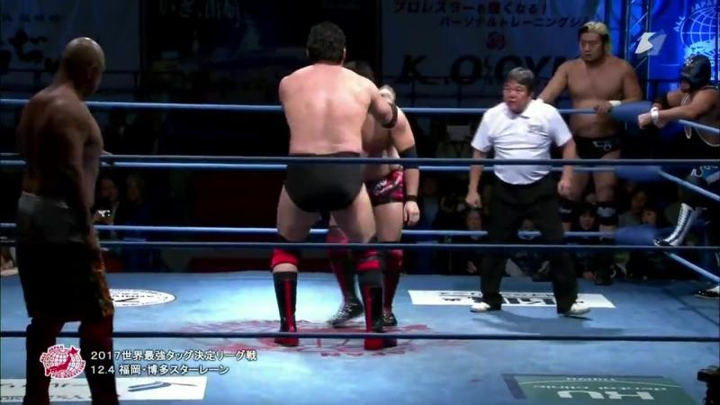 Joe Doering, Koji Iwamoto, Taiyo Kea vs. Atsushi Aoki, Shuji Ishikawa, Suwama (AJPW - Real World Tag League 2017 - Day 9)