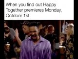 Read to feel happy! The HappyTogether series premiere is Monday, October 1 at 830730c on @CBS!