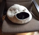 Я пришила глаза к кошачьему домику, и теперь это выглядит так…