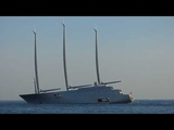 Melnichenko family boards SY A in Puerto Banus, World's Largest private Sailing yacht
