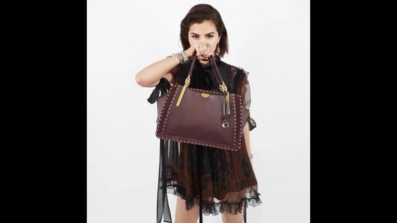 Pow! 💥Our girl @selenagomez holds fall's new Dreamer bag with rivets. CoachxSelena CoachFW18 CoachNY