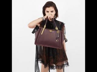 Pow! 💥Our girl @selenagomez holds fall's new Dreamer bag with rivets. #CoachxSelena #CoachFW18 #CoachNY