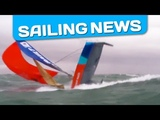 Incredible - A boat capsizes while sailing under spinnaker in heavy weather