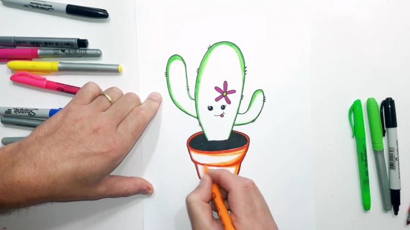 Como Desenhar um Cactus Kawaii com uma Flor » Freewka.com - Смотреть онлайн в хорощем качестве
