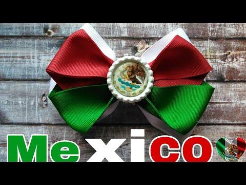 MOÑO TRICOLOR MEXICANO. MOÑO PATRIO. MEXICO HAIRBOW. Nennis Bows