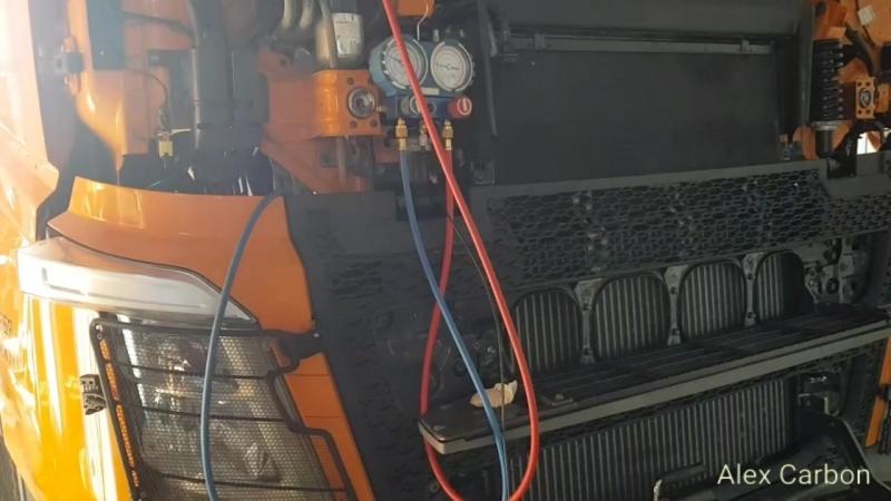Заправка фреоном кондиционера SCANIA G440 2012г и VOLVO FH TRUCK 2015г. НИЖНЕКАМСК.