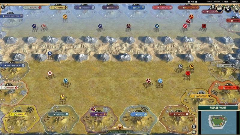 Civ 5 AI Only Timelapse: Mirror Battle (Original and Custom Civs Deathmatch)
