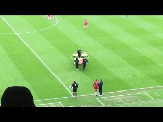 Boro fans applaud as Patrick Bamford is carried off on a stretcher