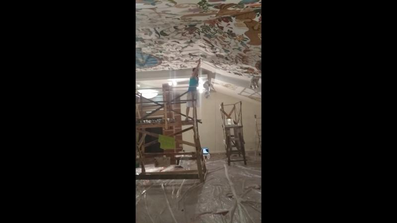 Роспись потолко. Роспись стен.Оля Мишуняева и Лена Тектова