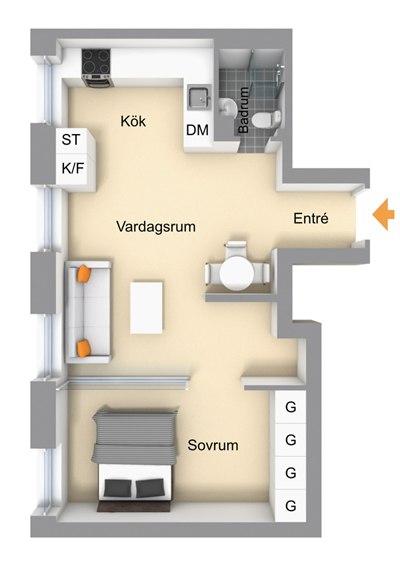 Скандинавский интерьер квартиры-студии 43 м.