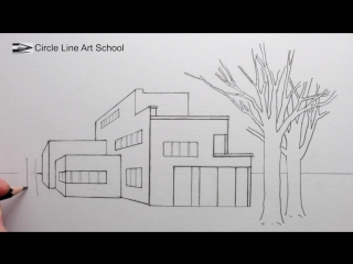 [Circle Line Art School] How to Draw a House in 1-Point Perspective with Trees and Shadows