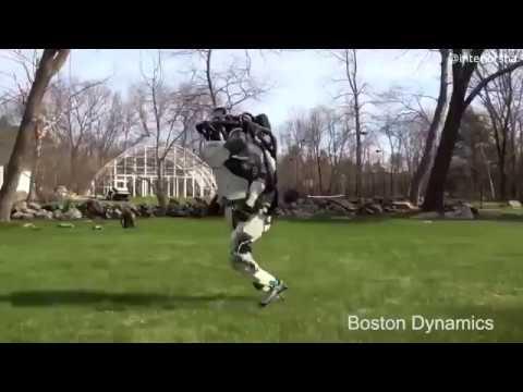 Робот Boston Dynamics на прогулке озвучка
