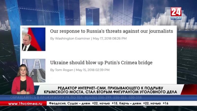 Редактор интернет-СМИ США, призывающего к подрыву Крымского моста, стал вторым фигурантом уголовного дела. Об этом на своём сайт