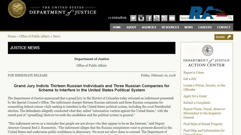 The US Justice Department charged 13 Russians in the case of interference in US elections