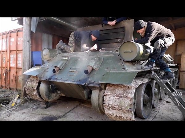WW2 T-34 Tank Engine Cold Start Up Barn Find