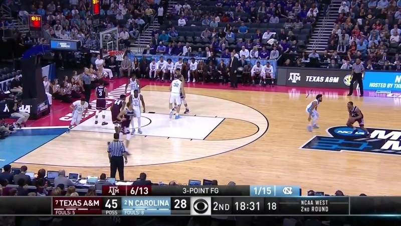Texas AM vs. North Carolina- Aggies upset the defending champs to advance to the Sweet 16