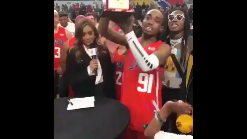 Quavo won the MVP 🏆 at the celebrity All-Star game 🔥🏀 He had 19 points, 5 rebounds and 3 assists, Quavo can't lose 😭