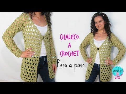 Chaleco manga larga a crochet/ paso a paso