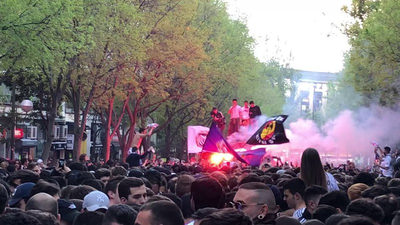 Ultras Sur before tonight's Chanpions League game between Real Madrid and Bayern Munich